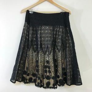 Anthropologie Viola black lace a line skirt